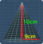 cone with height 10cm and base radius 9cm