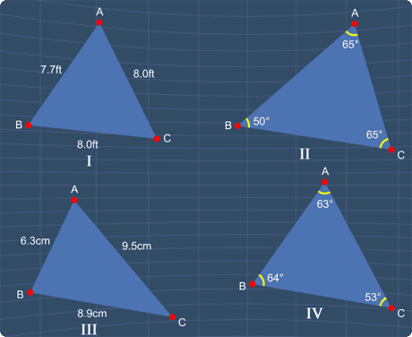 identify all the isosceles triangles