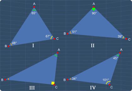 identify all the right triangles