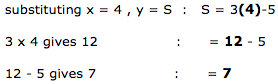 substituting x = 4 , y = S  :   S = 3(4)-5. 3 x 4 gives 12 : = 12 - 5. 12 - 5 gives 7: = 7