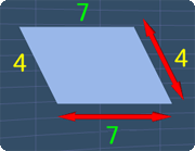 parallelogram with all the side lengths shown