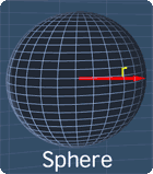 a sphere with a radius r