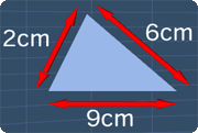 a triangle with side lengths of 2cm, 6cm and 9cm