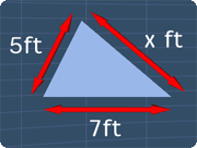 a triangle with side lengths of 5ft, 7ft and x ft