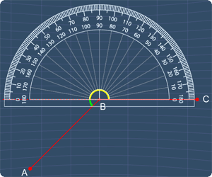 using the protractor to measure first angle