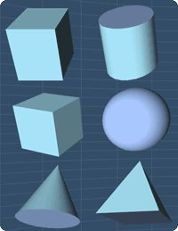 Basic Solids: rectangular solid, cylinder, cube, sphere, cone and pyramid.