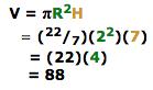 V = pi r squared multiples by H