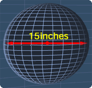 sphere with the diameter of 15 inches
